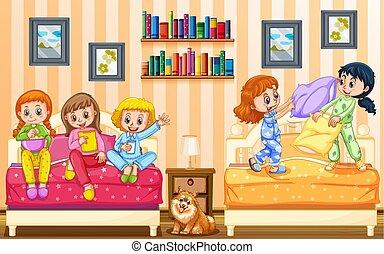 cinque, ragazze, gioco, camera letto