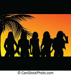 cinque, silhouette, ragazze