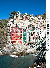 Cinque Terre, Italy - Riomaggiore colorful fishermen village...