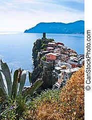Cinque Terre, Italy. Vernazza - colorful fishermen village by the Mediterranean sea