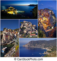Cinque Terre villages of Italy coast collage photos
