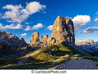 Cinque Torri mountain peak at sunset, Belluno, Dolomites Alps, Italy