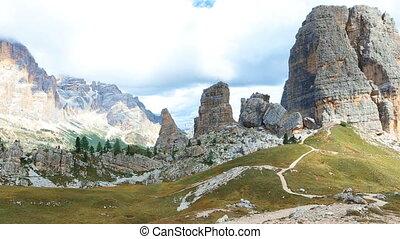 Cinque Torri panorama view at the Dolomiti Italy
