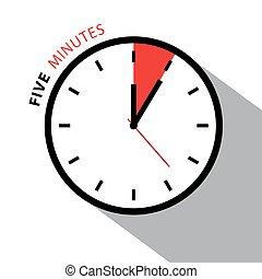 cinque, verbale, clock., cronometro, countdown., vettore,...