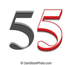 cinque, vettore, disegno, numero