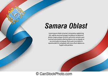 cinta, bandera, rusia, o, región, ondulación, bandera