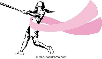 cinta, bateador, cáncerde los senos, sofbol