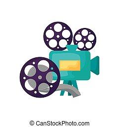 cinta, cámara video, carrete, cine