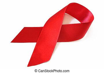 cinta de conocimiento de sida, rojo