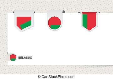 cinta, diferente, forma., etiqueta, colección, bandera belarús, plantilla