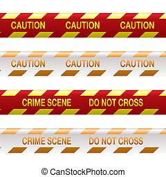 cinta, escena, rojo, crimen