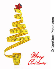 cinta, hecho, árbol, navidad, medida