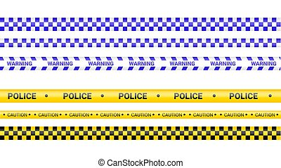 cinta, línea., precaución, advertencia, líneas, isolated., ilustración, fondo., ribbons., tapes., blanco, policía, conjunto, crimen, vector, peligro, barricada
