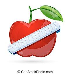 cinta medición, alrededor, manzana