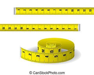 cinta medición, amarillo