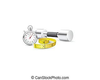 cinta medición, cronómetro, dumbb