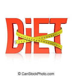 cinta medición, dieta