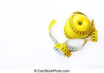 cinta medición, envuelto, alrededor, fresco, sabroso, amarillo, manzana, aislado, blanco, fondo., dieta, pérdida de peso, condición física, deporte, concept., primavera, y, verano, fruit., copia, space.