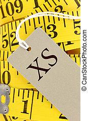 cinta medición, etiqueta, primer plano, tamaño