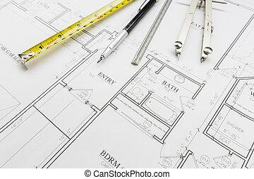 cinta medición, lápiz, regla, y, compás, reclinación encendido, casa, planes