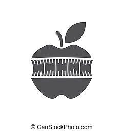 cinta medición, manzana, icono