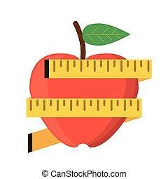 cinta medición, manzana, peso, perder