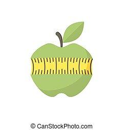 cinta medición, manzana, rojo, icono