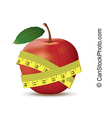 cinta medición, manzana, rojo