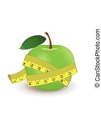 cinta medición, manzana verde