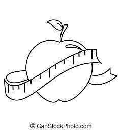 cinta medición, silueta, manzana