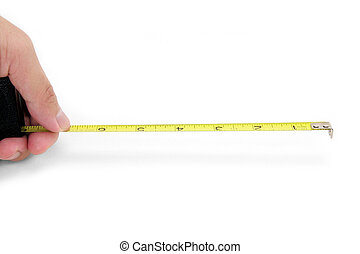 cinta medición, tenencia, amarillo, mano