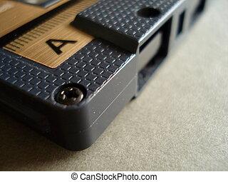 cinta, plástico, cassette, negro