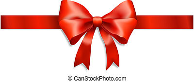 cinta roja, y, arco, aislado, blanco