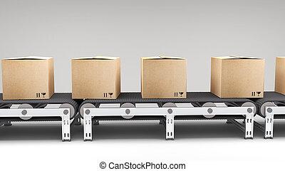 cinta transportadora, con, cartones
