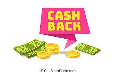 cinta, venta, label., tienda, efectivo, dinero, cashback, símbolo, vector, ahorro, reembolso, pegatina