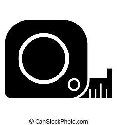 cintamétrica, icon., ruleta, construcción, símbolo., vector, pictogram