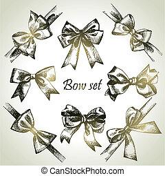 cintas, bow., conjunto, ilustraciones, mano, dibujado