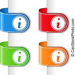 cintas, con, símbolo de información