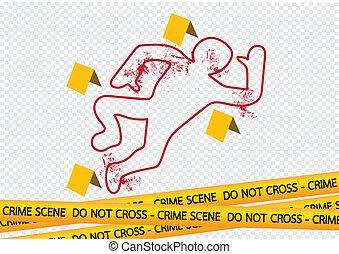 cintas, escena crimen, ilustración, peligro