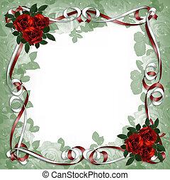 cintas, rosas, rojo, frontera floral, raso