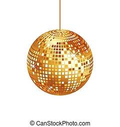 cintilante, ouro, bola disco, isolado