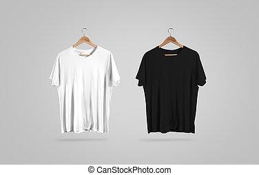 cintre, mockup, t-shirt, noir, vide, conception, blanc