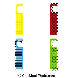 cintre, porte, bleu, signe., hôtel, étiquette, jaune, vert, vector., ico, rouges