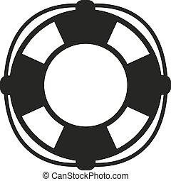 cinturón salvavidas, icon., lifebuoy, símbolo., plano