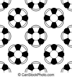 cinturón salvavidas, lifebuoy, patrón, seamless, ilustración, símbolo., fondo., vector, blanco, icono