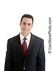 cintura, negócio, sincero, isolado, cima, experiência., suit., homem negócios, sorrizo, branca