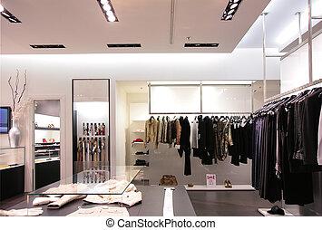 cinture, e, superiore, vestiti, in, negozio