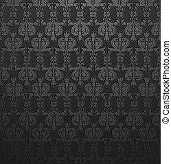 cinza escuro, papel parede, damasco, ornate