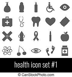 cinzento, 1., jogo, ícones, experiência., branca, ícone, health.