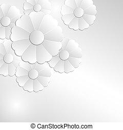 cinzento, abstratos, flores, fundo